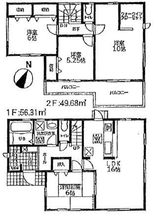 間取図八幡西区星和町【3号棟】| 小学校近くで買物も便利【赤坂小・折尾中】